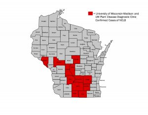 Figure 1. Wisconsin Counties Where NCLB has been confirmed as of June 19, 2016.