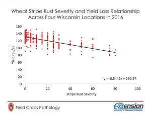 Figure 2. Wheat Stripe Rust Severity and Yield Loss Relationship Across Four Wisconsin Locations in 2016