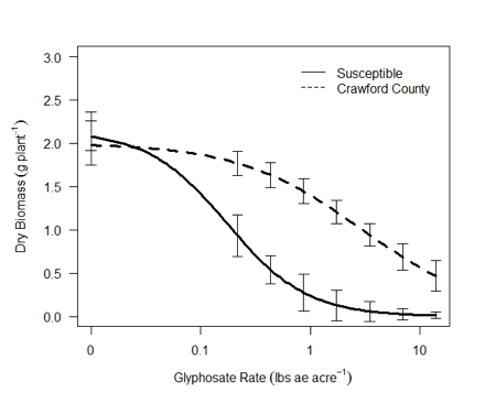 Figure 2. Glyphosate dose-response curves for Crawford County and known susceptible common waterhemp populations 28 days after treatment.